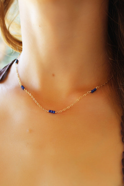 Gold Lilly Necklace Lapis Lazuli Brooke Landon Jewelry