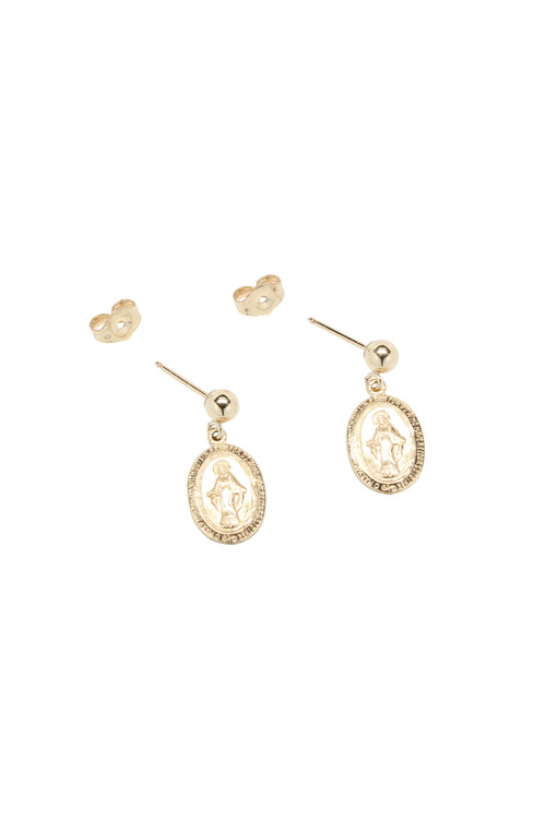Mary Charm Earrings Gold Brooke Landon Jewelry