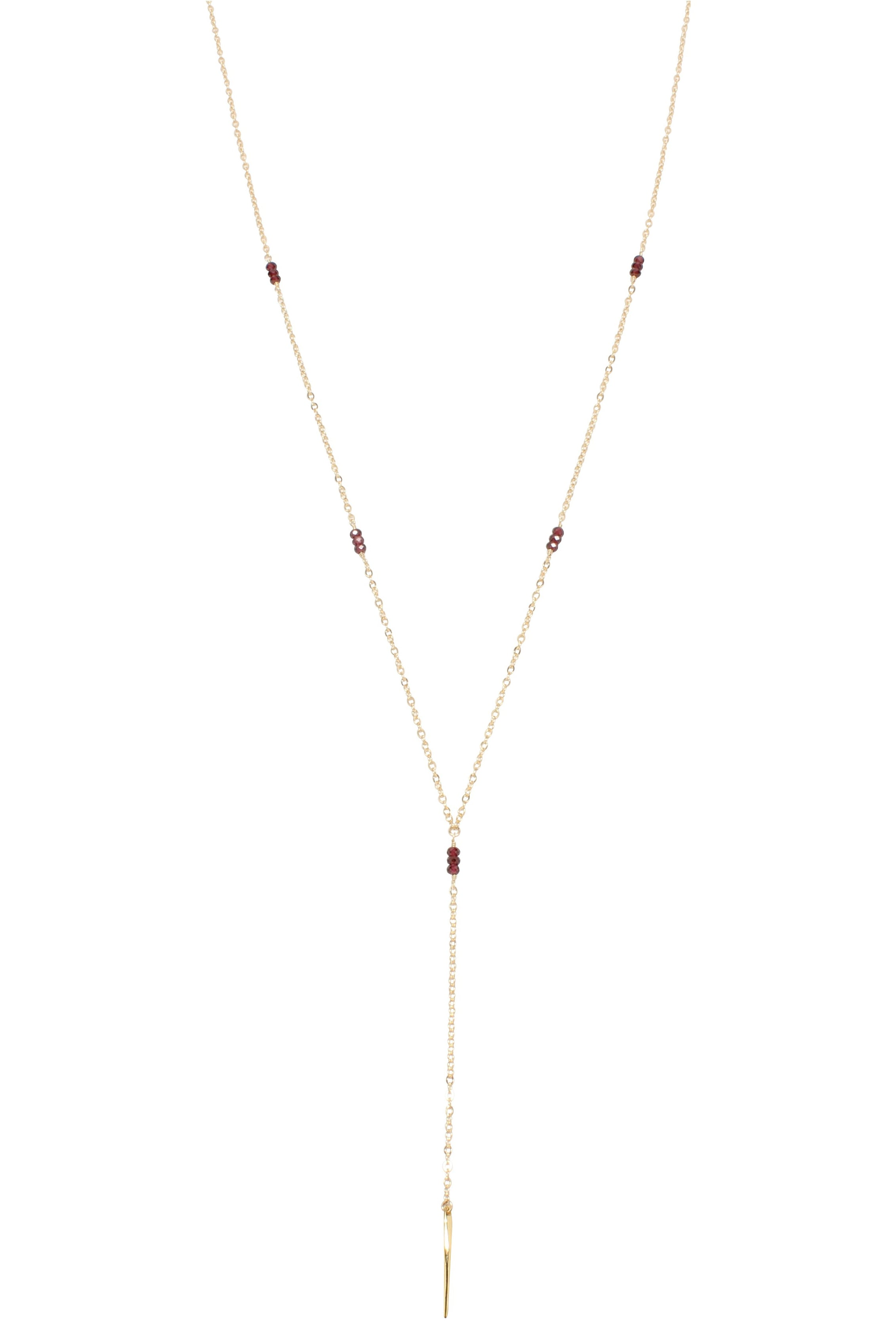 Melody Long Lariat Necklace Garnet Gold Brooke Landon Jewelry
