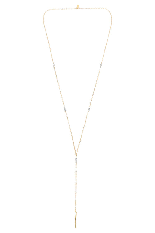 Melody Long Lariat Necklace Hematite Gold Brooke Landon Jewelry