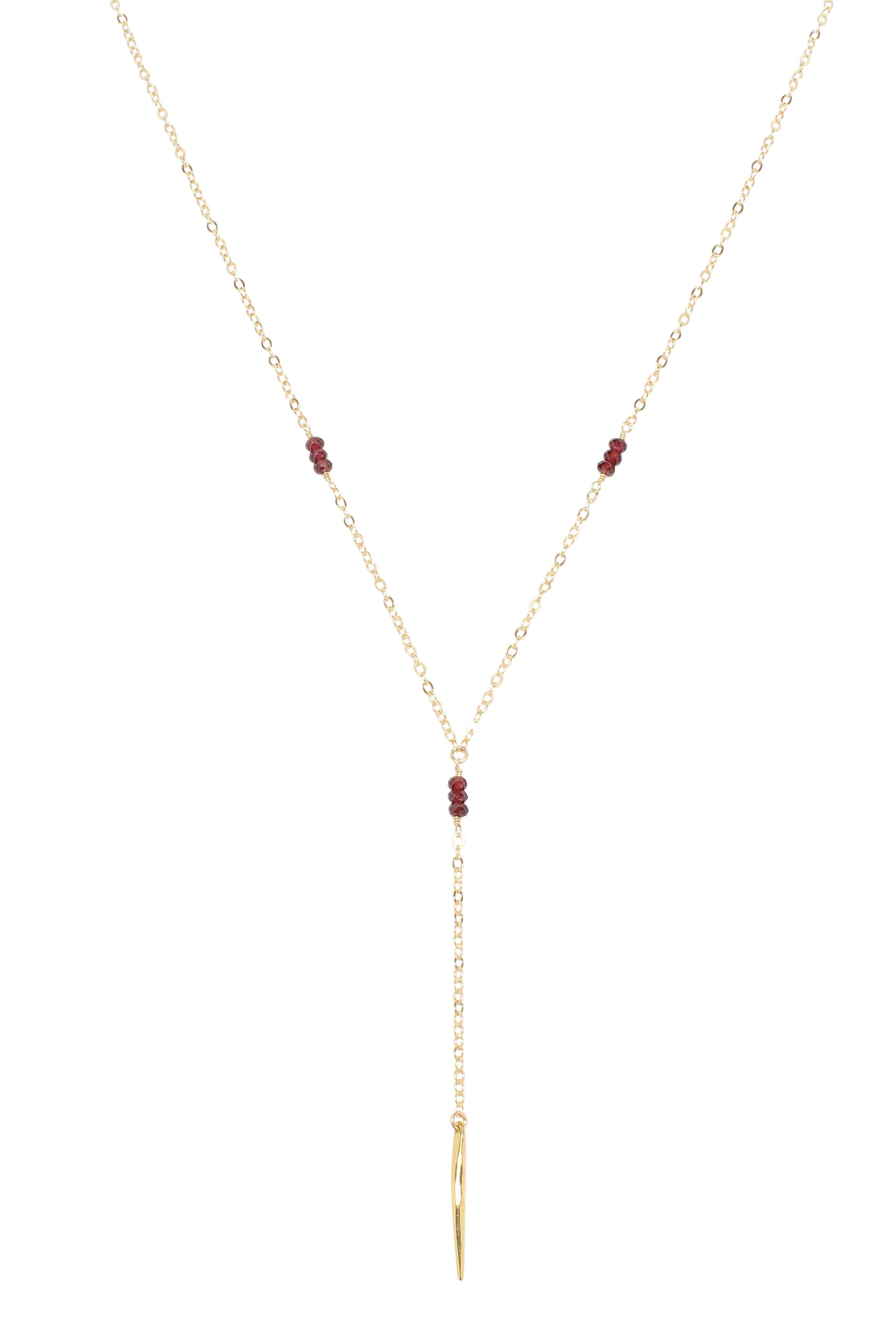Melody Lariat Necklace Garnet Gold Brooke Landon Jewelry
