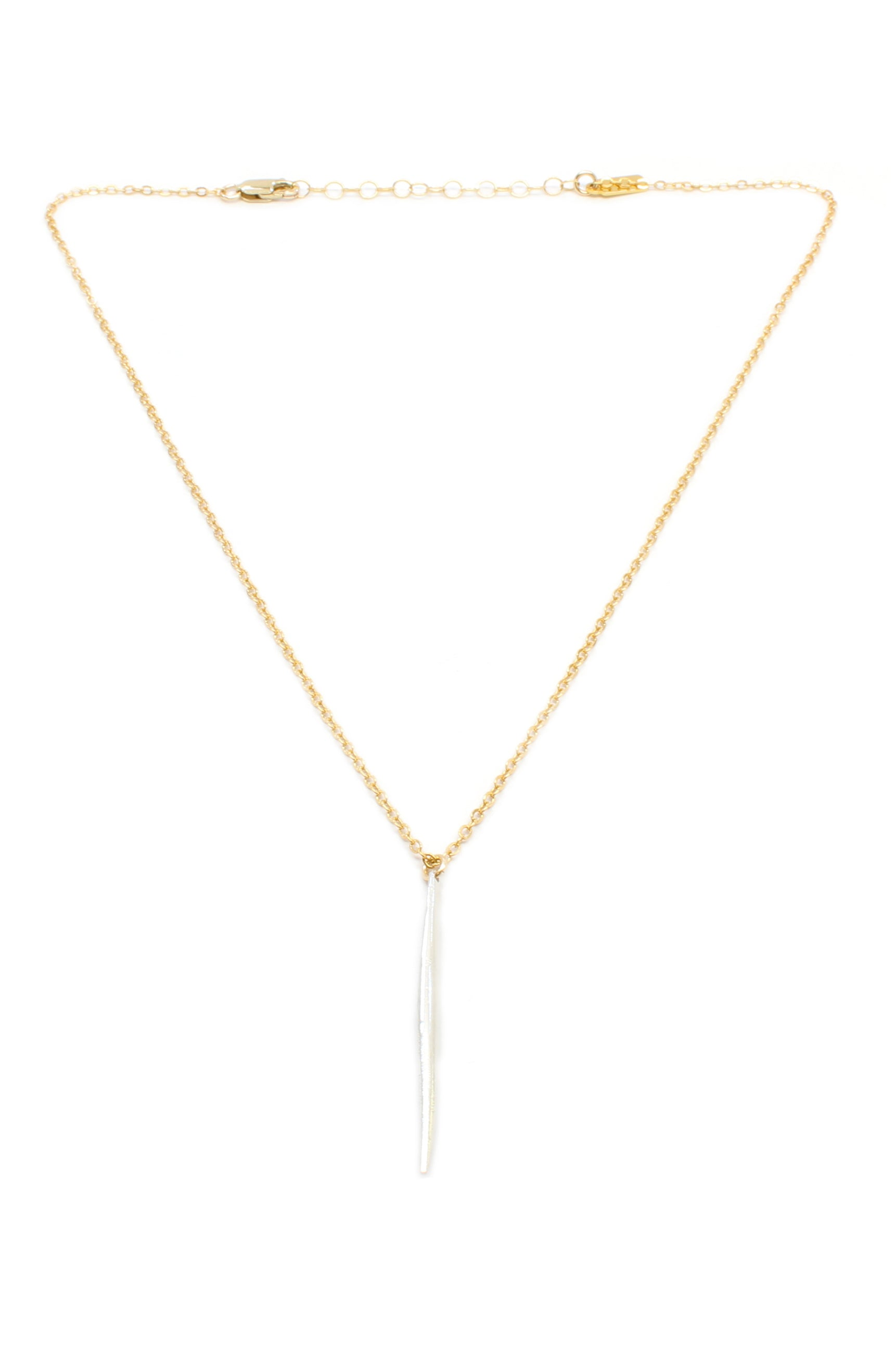 Two-Tone Needle Necklace Silver & Gold Brooke Landon Jewelry