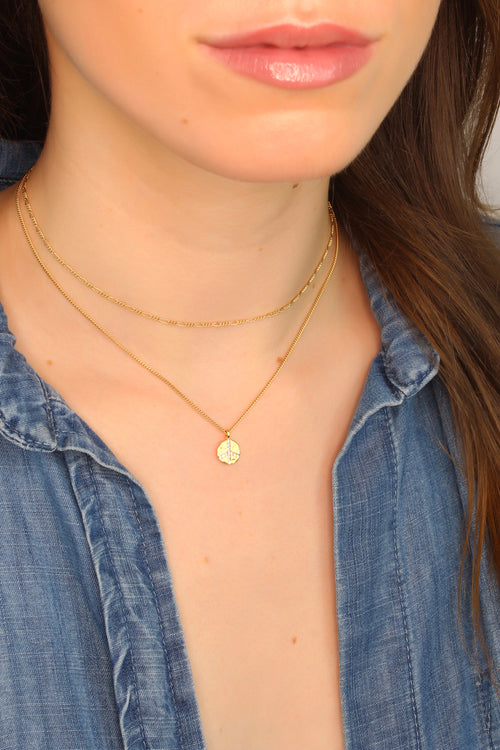 Gold Cubic Zirconia Peace Charm Necklace Brooke Landon Jewelry