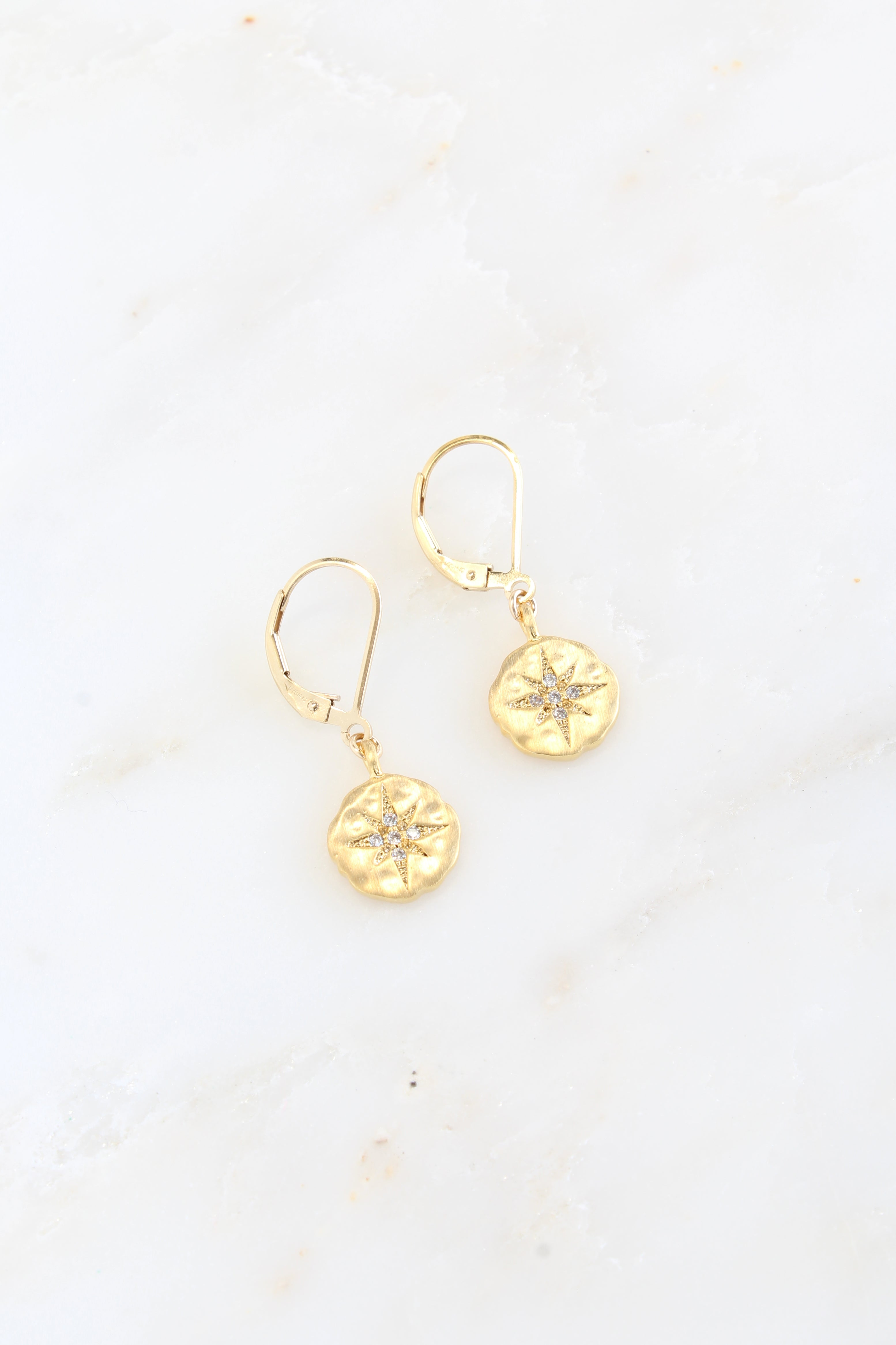 Gold Cubic Zirconia Starburst Earrings North Star Earrings Brooke Landon Jewelry