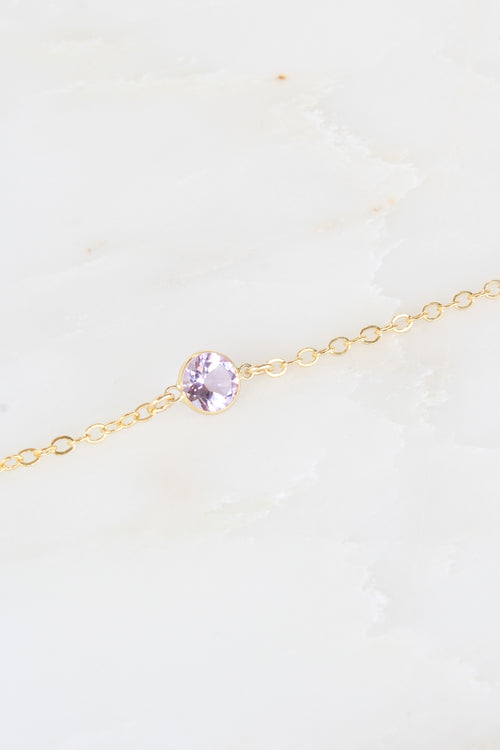 Dainty Amethyst Stella Necklace in Gold Brooke Landon Jewelry