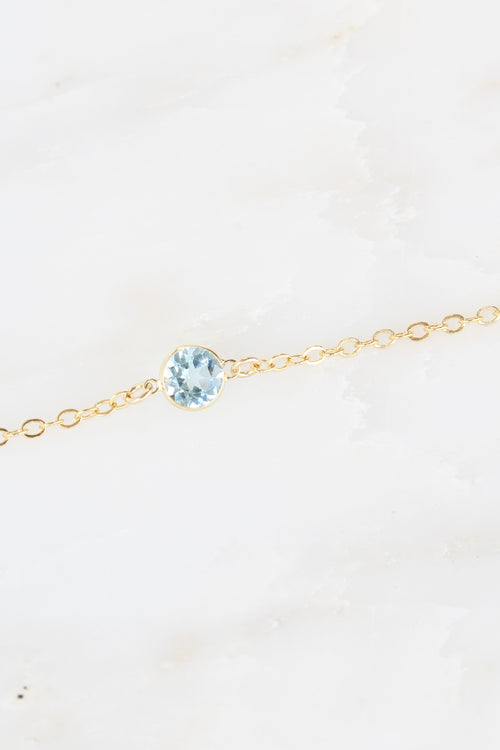Dainty Blue Topaz Stella Necklace in Gold Brooke Landon Jewelry