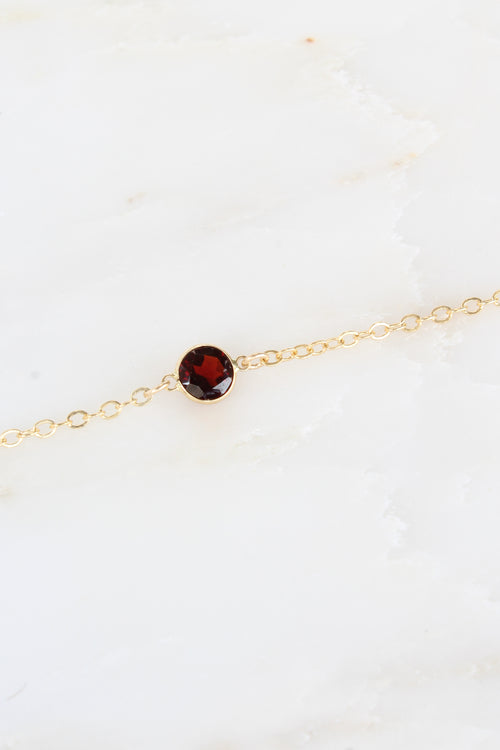 Dainty Garnet Stella Necklace in Gold Brooke Landon Jewelry