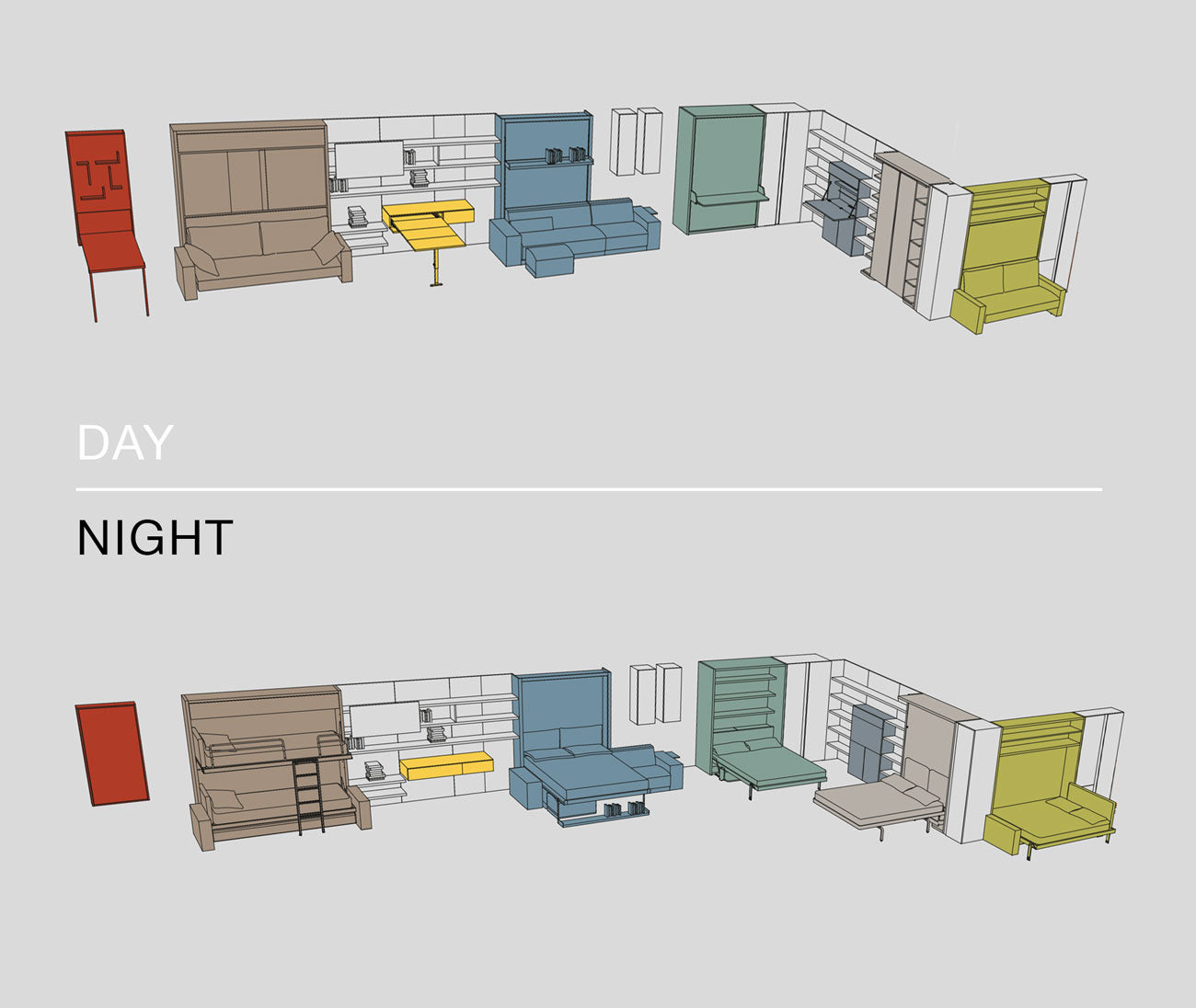 Day and Night Clei Transformable Furniture Systems