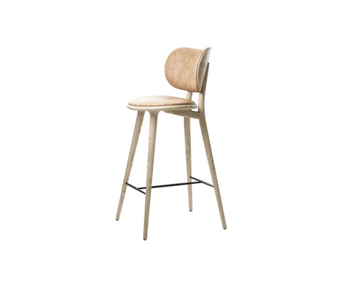 High Stool Backrest Natural Matt Lacquered Oak