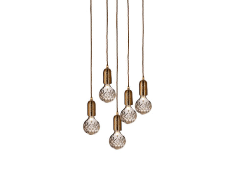 Clear Crystal Bulb 5 Piece Chandelier
