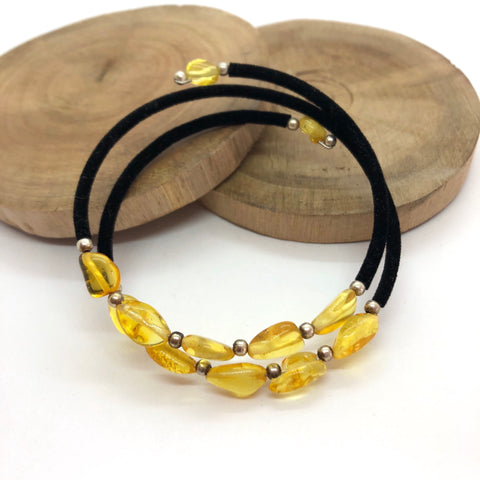 Honey Amber Translucent Cotton Adjustable Bracelet