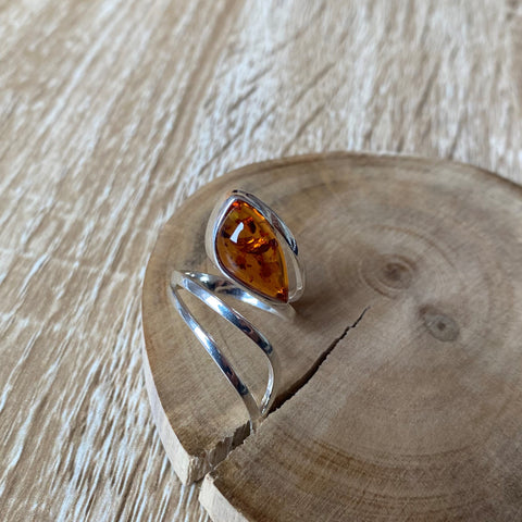wrap cognac amber ring set in Sterling silver and adjustable