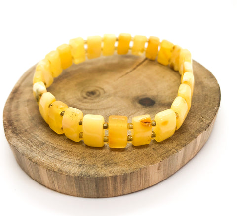 Baltic Amber Butter Beaded Natural Untreated Rectangular Stretch Bracelet