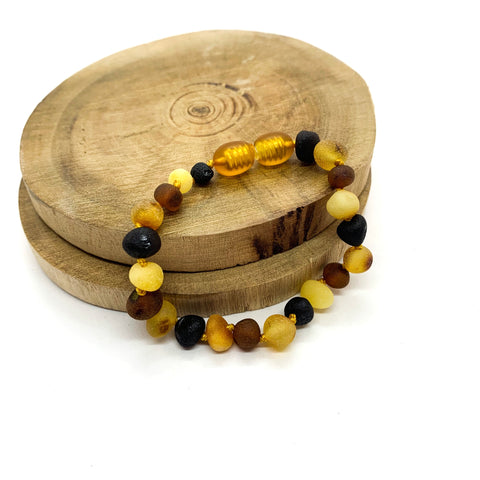 Multicolored Raw Natural Baltic Amber Baby Bracelet and Anklet
