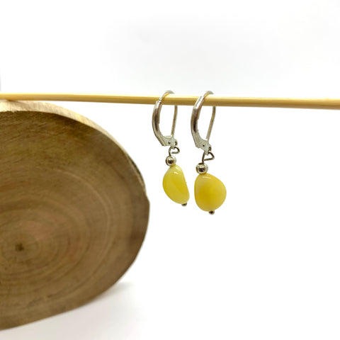 Natural Butter Oval Drop Amber Earrings