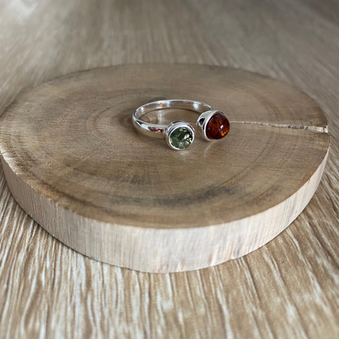 green and coganc amber shaped balls set in sterling silver