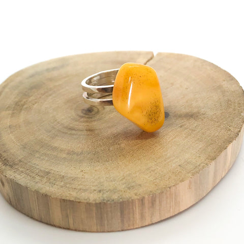 Unique Baltic Yellow Amber Adjustable Silver Ring