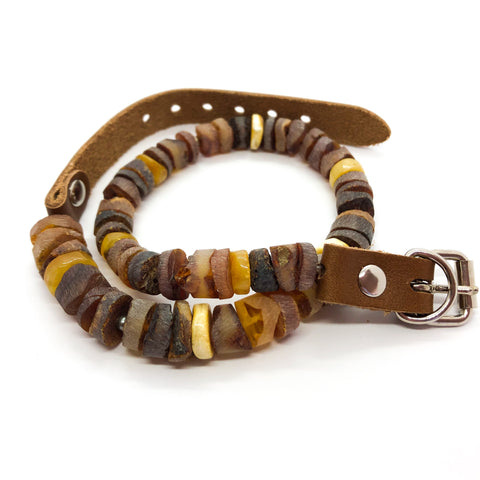 natural mixed colour raw amber and leather pet collar