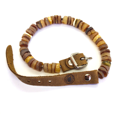 handmade multi colour amber pet collar