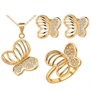 Butterfly Rhinestone Set (Necklace, Earrings, Pendant and Ring)