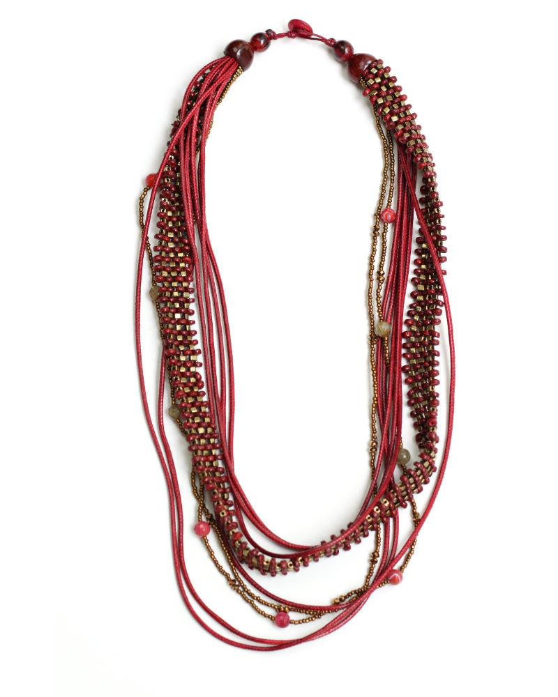 Multi Layered Red Long Necklace