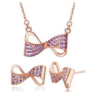 Rhinestone Bowknot Set (Necklace and Earrings)