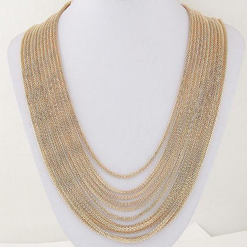 Multi Layer Solid Color Chain Necklace