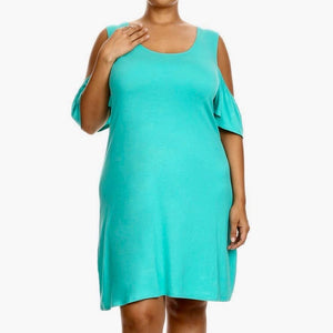 Plus Size Cut-out Shoulder Short Dress - Mint