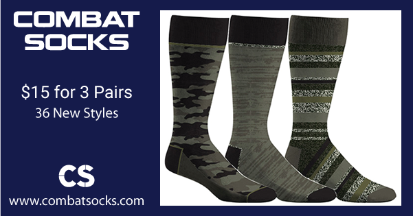 Combat Socks - 36 New Styles - $15 for 3 Pairs