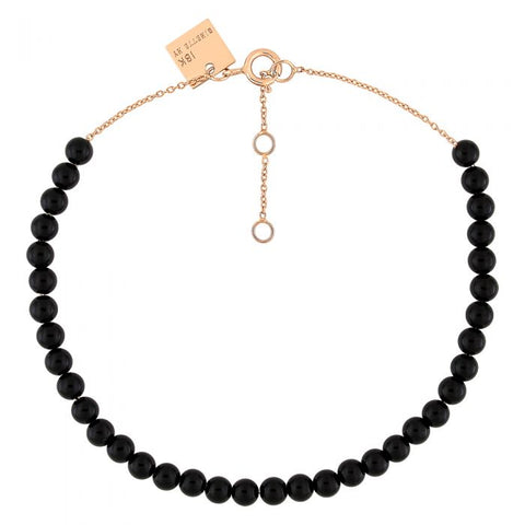 BRACELET MARIA MINI ONYX BEAD 18K ROSE GOLD