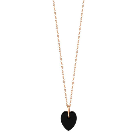 COLLIER ANGELE MINI ONYX HEART ON CHAIN 18K GOLD