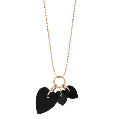 COLLIER ANGELE 3 ONYX HEARTS ON CHAIN 18K GOLD