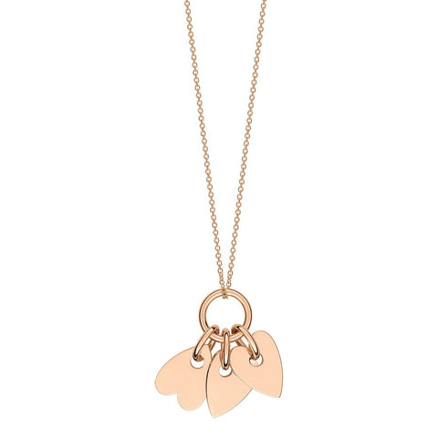 COLLIER ANGELE 3 MINI HEARTS ON CHAIN 18K ROSE GOLD