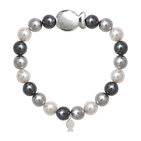 BRACELET DE PERLES SW 8MM MULTI GRIS + POISSON
