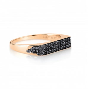 Bague Baguette Diamants Noirs