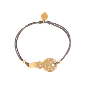 BRACELET MINI KEY PLAQU OR FIL GRIS