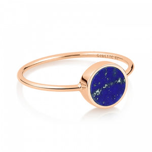 Bague Mini Ever Lapis Disc Or Rose 18K