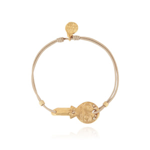 BRACELET MINI KEY PLAQU OR FIL TAUPE