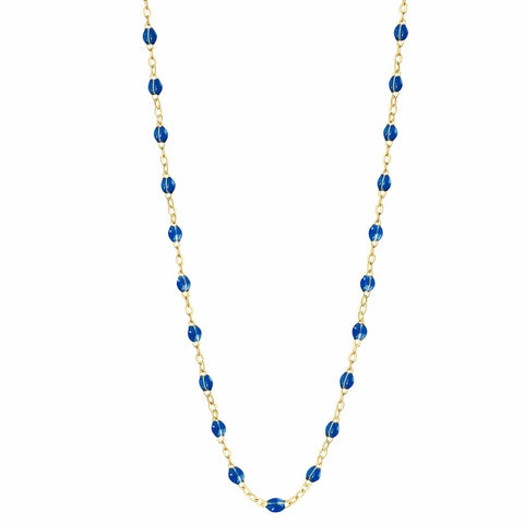 Collier Or Jaune 18K Bleu Saphir