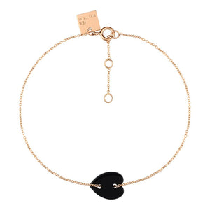 BRACELET MINI ONYX HEART 18K GOLD