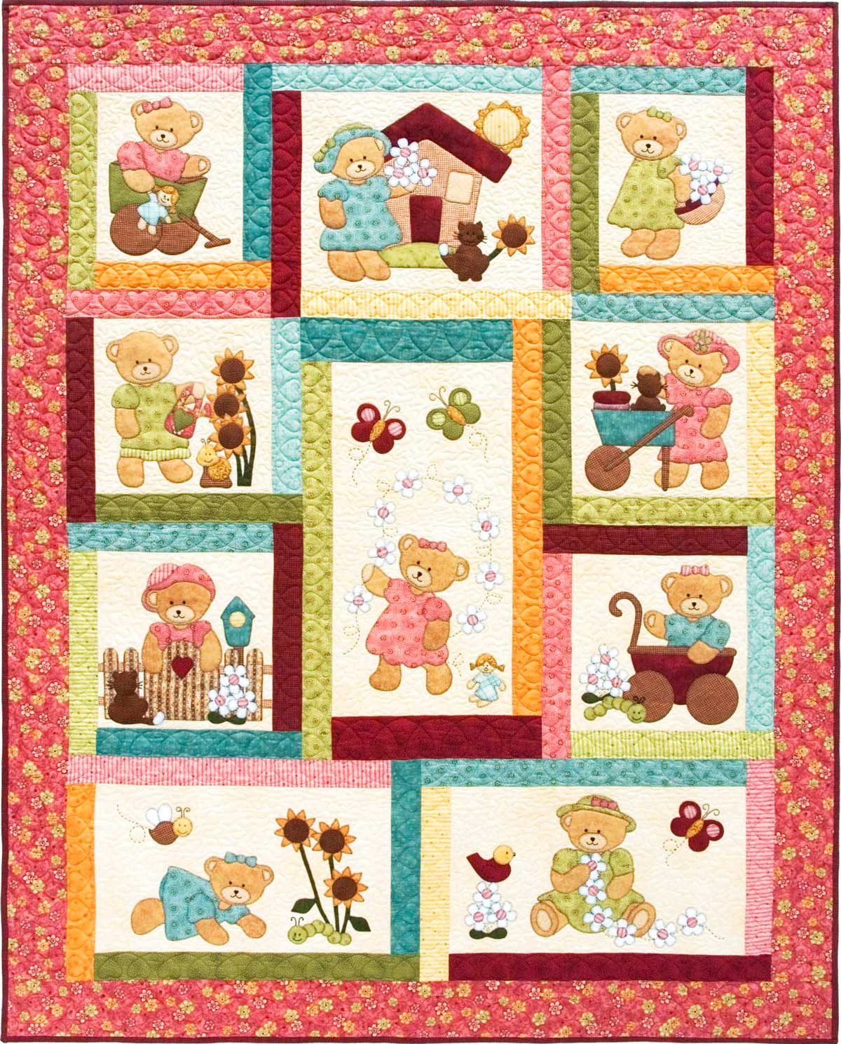Daisy Bear Pattern Kids Quilts