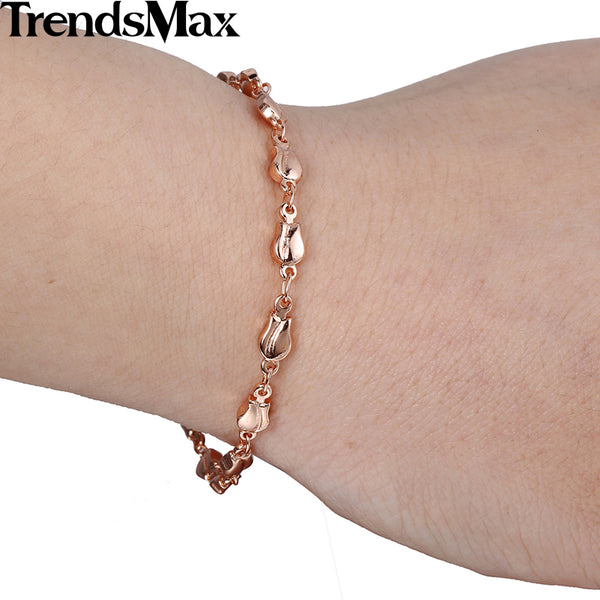 Trendsmax Trendy 4mm Women and Girls Friendship Chain Tulip Bud Beaded Link Rose Gold Filled Bracelet GB394
