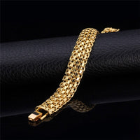 U7 Brand Gold Colored Bracelet Chunky Big Hand Chain Fashion Men, Hollow Bracelets & Bangles Homme H537