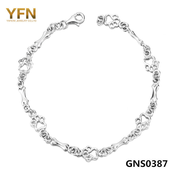 Pulseras Genuine 925 Sterling Silver Women Bracelet with Dog Paw and Bone design. Jewelry Chain Bracelet 19 CM Length