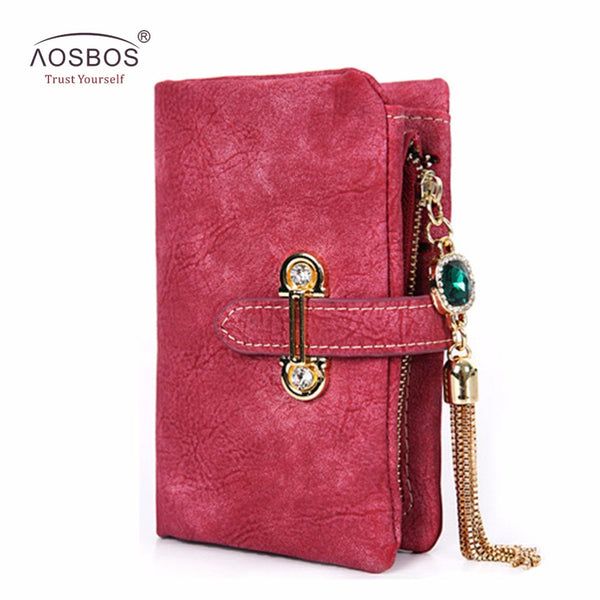 Aosbos Ladies wallet vintage with tassel zipper and hasp