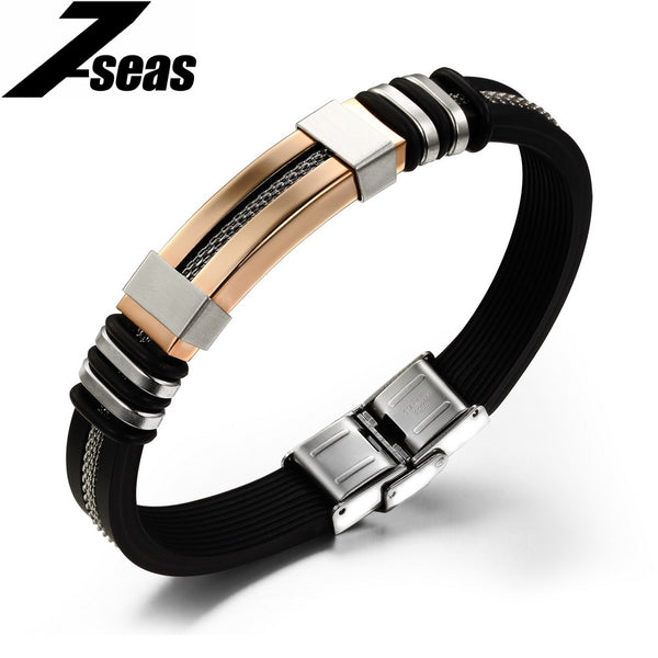 Fashion Silicone Rubber Gold Colored Rope Black Bracelet & Bangle