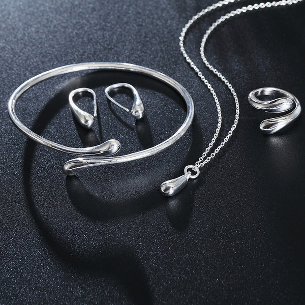 Silver Colored Water Drop Jewelry Sets Ring, Necklace, Bangle+Earrings Women Jewelry