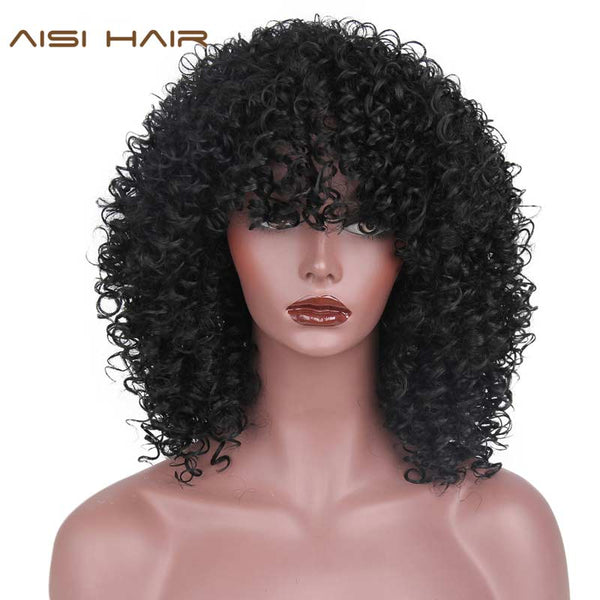 AISI HAIR Afro Kinky Curly Natural Afro Hair Wig Synthetic Wigs for Black Women