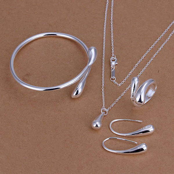 Promotion! Top Quality Jewelry 925 Stamped Silver Color Water Drop Jewelry Sets (Necklace+Bracelet Bangle+Earring+Ring)