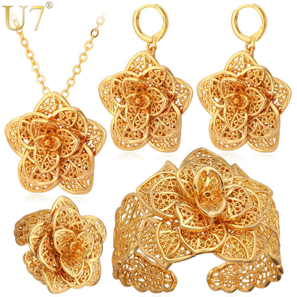 Gold Colored flower Necklace Cuff Bracelet, Earrings And Ring set